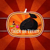 Pumpkin shape retro stylized badge, bag with candies and trick or treat greeting. Vector