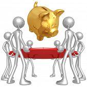 Safety Net Catching Falling Piggy Bank