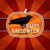 Pumpkin shape retro stylized badge, with black scary raven and happy halloween greeting. Vector