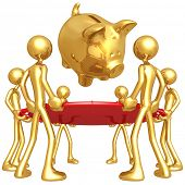 Gold Guys Holding Safety Net Catching Falling Piggy Bank