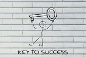 Man Holding Oversized Key, Metaphor Of Key To Success