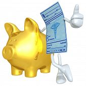 Medical Prescription With Gold Piggy Bank