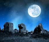 stock photo of megaliths  - Megalithic monuments menhirs in Carnac - JPG