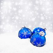 Three Blue Christmas Balls