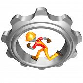 Construction Worker Running In A Cog