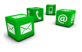 stock photo of blog icon  - Web contact us Internet concept with email mobile phone and at icon and symbol on four green cubes for website blog and on line business - JPG