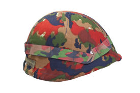 stock photo of stelles  - swiss army stell helmet with camouflaged cover - JPG