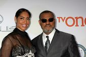 LOS ANGELES - FEB 6:  Gina Torres, Laurence Fishburne at the 46th NAACP Image Awards Arrivals at a Pasadena Convention Center on February 6, 2015 in Pasadena, CA