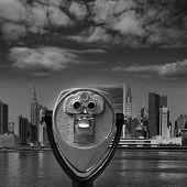 Manhattan New York sunny skyline East River NYC USA telescope photomount