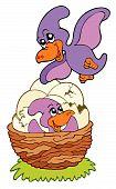 Cartoon pterodactyl mom and baby
