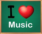 Illustration of I love music sign