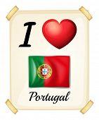 Illustration of I love Portugul sign