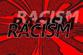 Word racism in different shades, presenting the many levels of it, with one broken in pieces  -concept of ending racism - on red grunge background