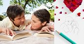 Two friends looking at each other while reading books on a blanket against sketch of kissing couple with pencil