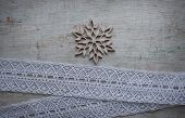 Wooden Carved Snowflake And Ribbon Lace