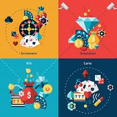 stock photo of excite  - Casino design concept set with excitement temptation win game flat icons isolated vector illustration - JPG