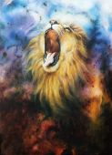 Airbrush Painting Of A Roaring Lion On A Abstract Cosmical Background