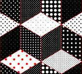 Polka dot patchwork on imitation of cubes surfaces.