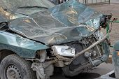 Car After The Accident Is On The Street