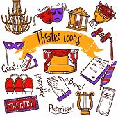 picture of comedy  - Theater performance decorative icons sketch set with mask applause flowers isolated vector illustration - JPG
