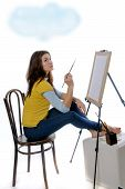 Woman Artist Sitting Before Her Easel Thought