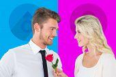 Handsome man smiling at girlfriend holding a rose against female gender symbol