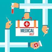 Flat design concepts for medical care