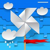 Template design with wind paper propeller and clouds on blue background