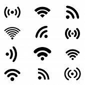 Wireless technology, black web icons set.