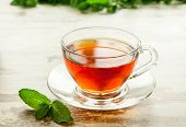 Cup Of Tea With Mint Leaves.