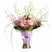 Colorful Flower Bouquet In Glass Vase Isolated On White Background.