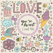 You are sweet - stylish romantic card made of flowers,  birds, rabbit, ice scream, house, lovers on tandem bicycle and bees in cute colors in vector. Awesome concept background for romantic design