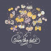 Save the date concept illustration. Cartoon butterflies on dark blue. Cute stylish wedding invitation.