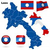 Laos set. Detailed country shape with region borders, flags and icons isolated on white background.