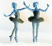 Photo negative of ballet dancer in two different poses.