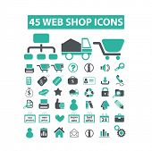 web internet shop, ecommerce, store, shopping flat isolated icons, signs, illustrations vector set on background