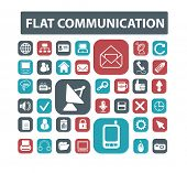 communication, connection, mail flat isolated icons, signs, illustrations vector set on background