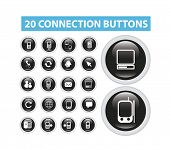 connection, mobile, smartphone, phone flat isolated icons, signs, illustrations vector set on background