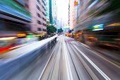 traffic blur motions in modern city hong kong street