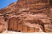 Beautiful red rock formations in Petra Jordan