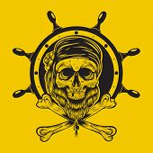 stock photo of plunder  - Illustration of a pirate skull with steering wheel - JPG