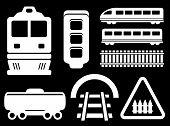 isolated railway white objects set