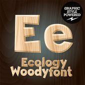 Vector font set of wood ecology font. Letter E