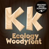 Vector font set of wood ecology font. Letter K