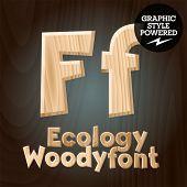 Vector font set of wood ecology font. Letter F