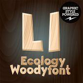 Vector font set of wood ecology font. Letter L