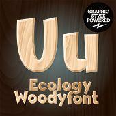 Vector font set of wood ecology font. Letter U
