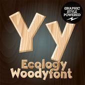 Vector font set of wood ecology font. Letter Y