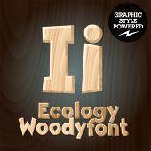 Vector font set of wood ecology font. Letter I