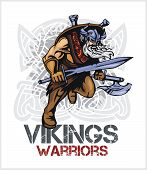 Viking norseman mascot cartoon with ax and sword